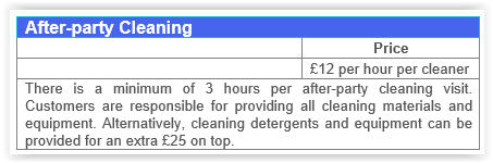 After party cleaning Chiswick prices.