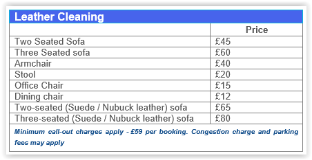 Leather cleaning Chiswick prices